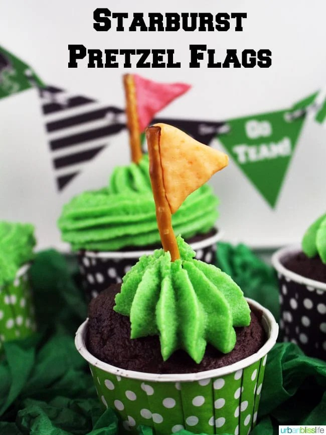 Starburst Pretzel Flag Game Day idea on UrbanBlissLife.com