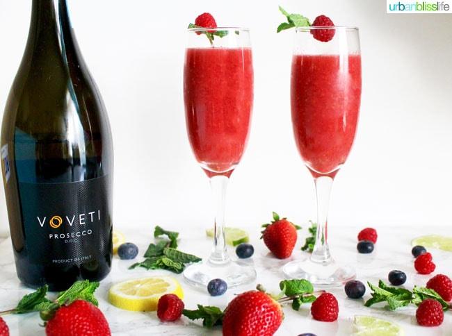 Raspberry Lime Bellini cocktail recipe in UrbanBlissLife.com