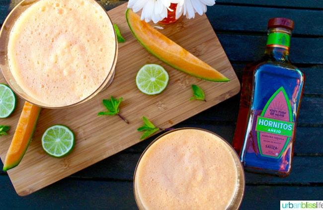 Cantaloupe Margaritas recipe on UrbanBlissLife.com