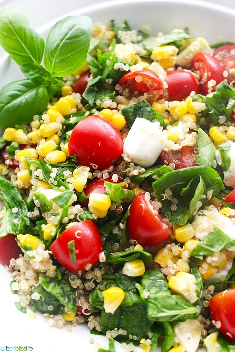 Close up Summer Corn Quinoa Caprese Salad