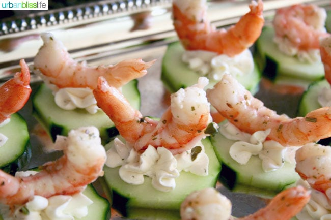 FOOD BLISS: Easy Entertaining: Shrimp Cucumber Canapés Two Ways!