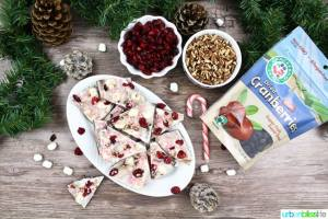 Cranberry Peppermint Holiday Bark is a fast, easy, elegant, and delicious holiday treat that makes a great holiday gift! Recipe on http://UrbanBlissLife.com
