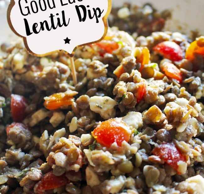 Good Luck Lentil Dip Recipe is hearty and delicious! Recipe on UrbanBlissLife.com
