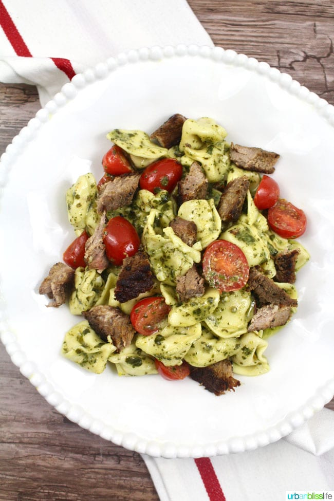 FOOD BLISS: Tortellini with Steak and Creamy Pesto Sauce