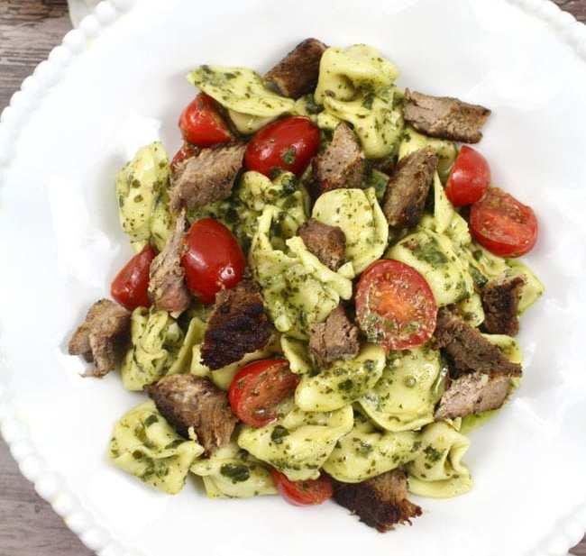 Easy and Delicious Steak Pesto Tortellini recipe on UrbanBlissLife.com