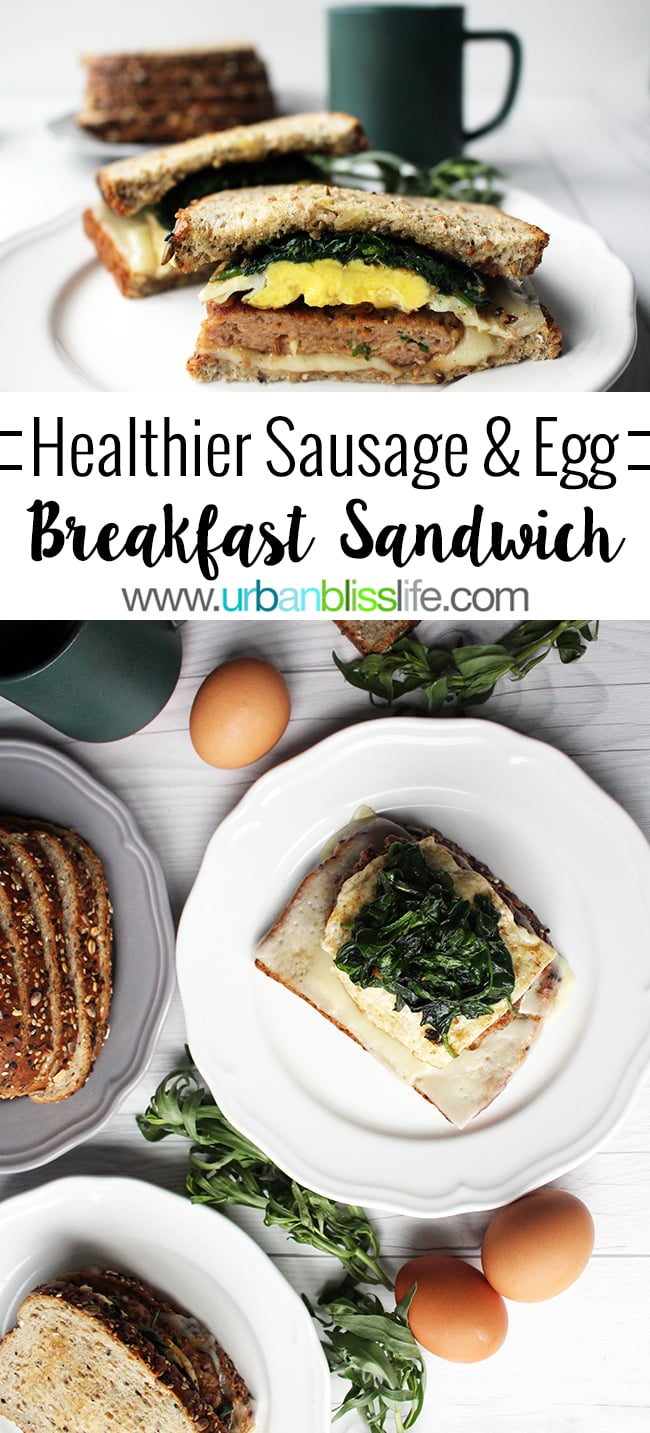 Healthier Sausage Egg Breakfast Sandwich recipe on UrbanBlissLife.com
