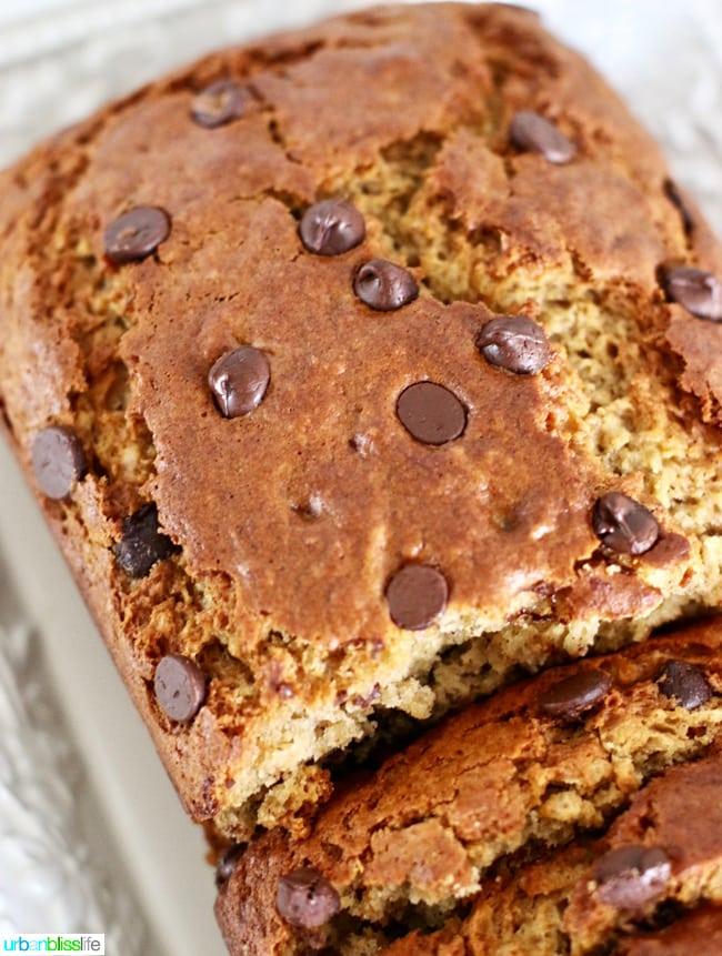 Chocolate Chip Banana Bread recipe on UrbanBlissLife.com