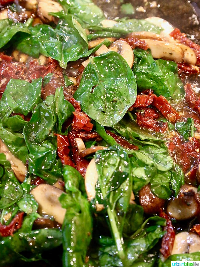 Chicken with Creamy Sundried Tomato Mushrooms and Spinach Sauce recipe on UrbanBlissLife.com
