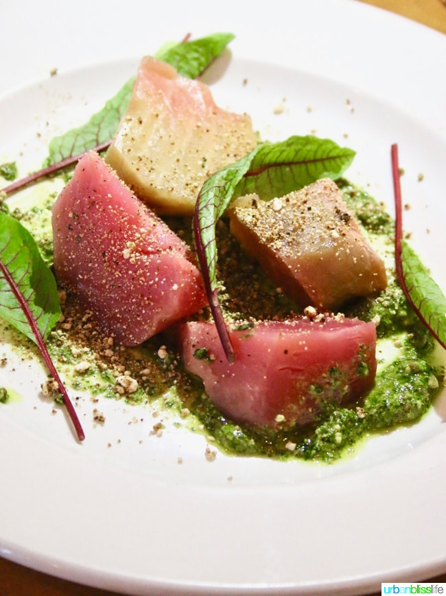 Lark Restaurant beet salad. Restaurant review on UrbanBlissLife.com