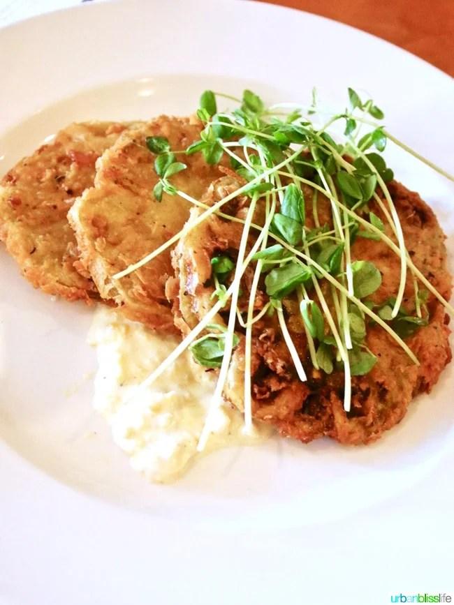 Lark Restaurant fried green tomatoes. Restaurant review on UrbanBlissLife.com