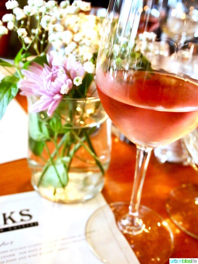Lark Restaurant rosé wine. Restaurant review on UrbanBlissLife.com