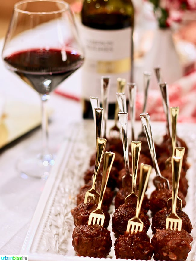 Cranberry Meatballs Party Appetizer with wine recipe on UrbanBlissLife.com