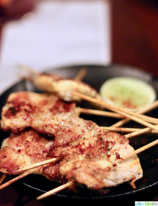 chicken skewers at at Bar Casa Vale restaurant in Portland, Oregon.