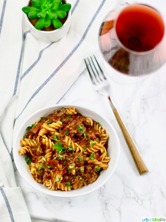 Instant Pot Sausage Peppers & Pasta with Oregon Pinot Noir