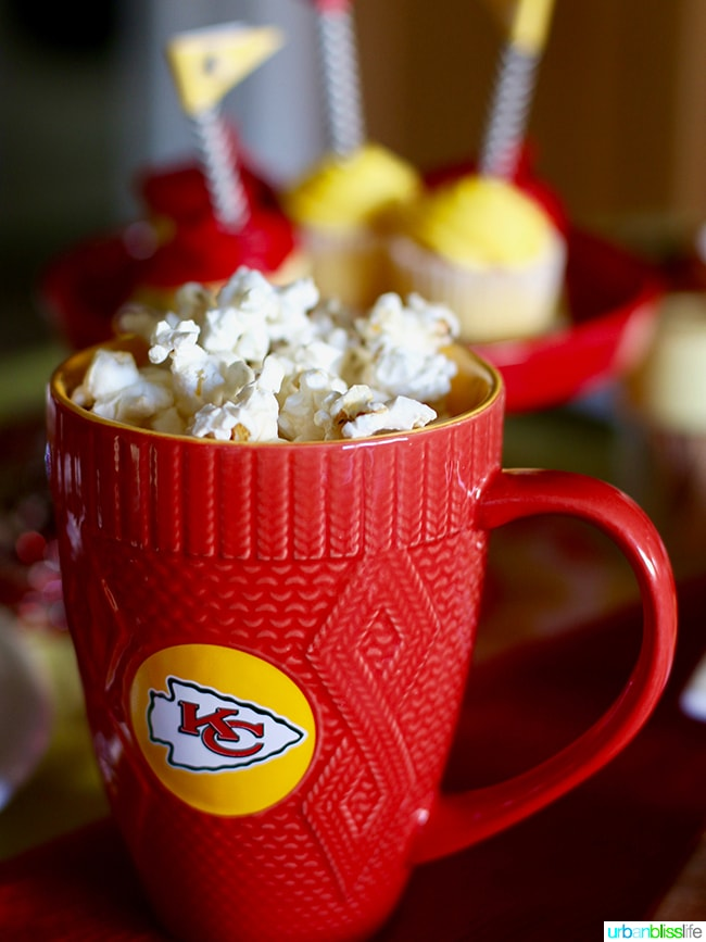 NFL KC Chiefs Mug with Popcorn Tips for Making Your Homegating Party a Touchdown! Ideas and Recipes on UrbanBlissLife.com