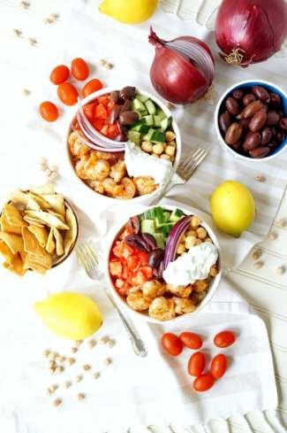 Greek shrimp quinoa bowls