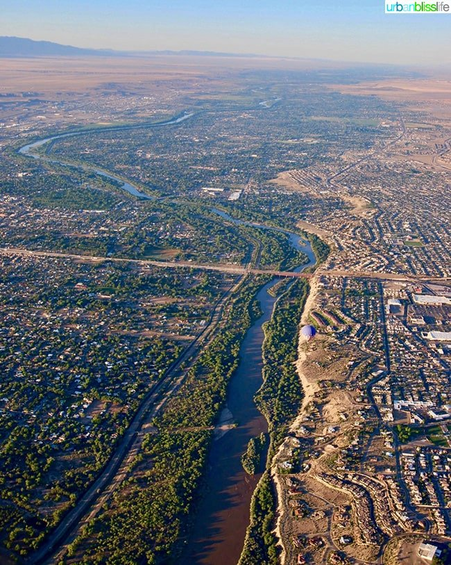 aerial view from hot air balloon of Albuquerque, New Mexico
