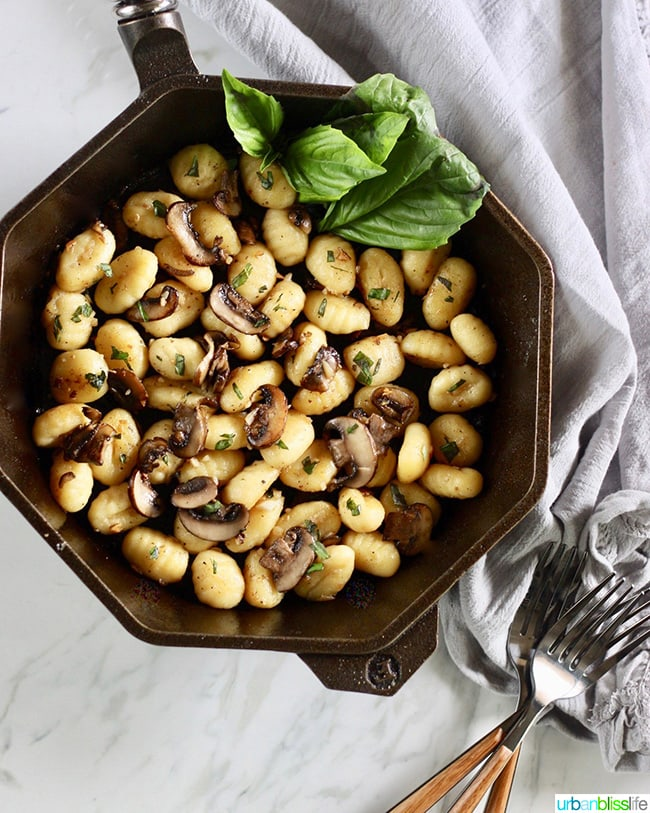 One-Pan Skillet Gnocchi with Mushrooms