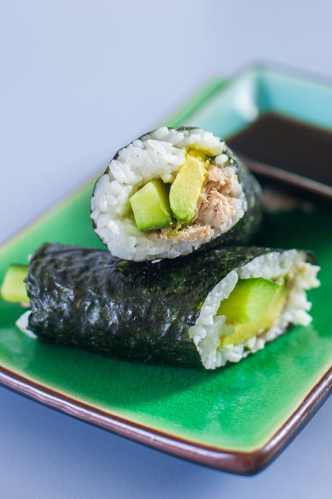 canned tuna sushi rolls