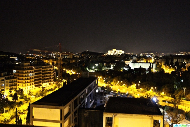 Hilton Athens view of Greece at night
