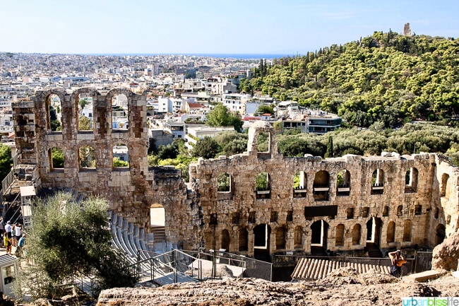 Theater of Herodes Atticus in the Acropolis in Athens Greece