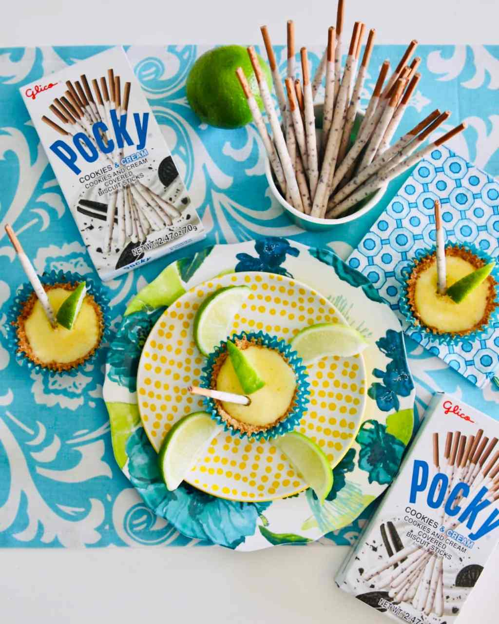 Mini Lime Tarts with Cookies and Cream Pocky