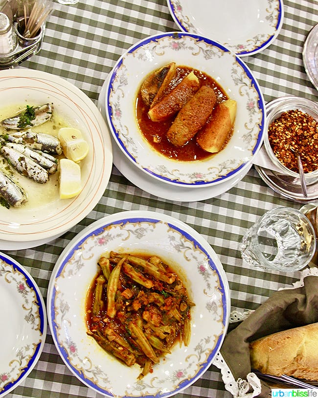 Greek food in Epirus tavern in Athens, Greece