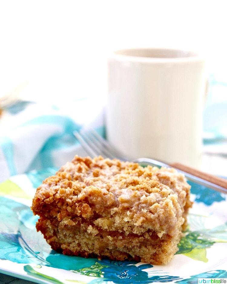 single slice angle coffee of Banana Crumb Coffee Cake