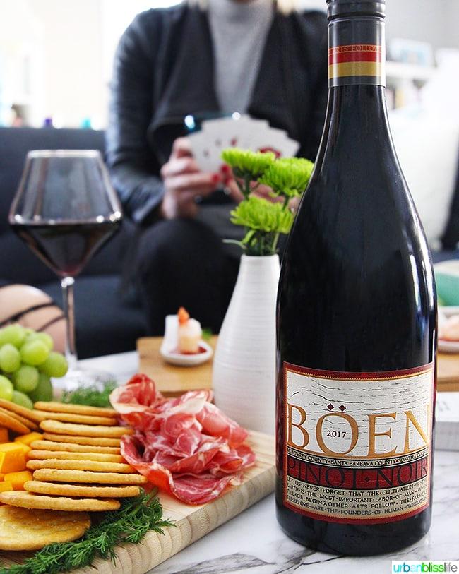 Boen Pinot Noir red wine at girls night in