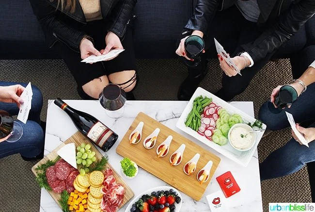 game night girls' night in with red wine and appetizers