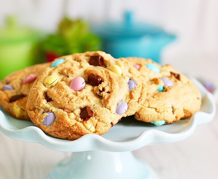 Giant Chocolate Chip M & M Cookies on cake plate