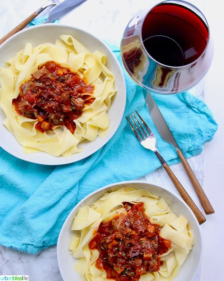 two big bowls of Instant Pot Short Rib Ragu with red wine