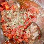 Instant Pot Short Rib Ragu tomatoes and herbs in Instant Pot