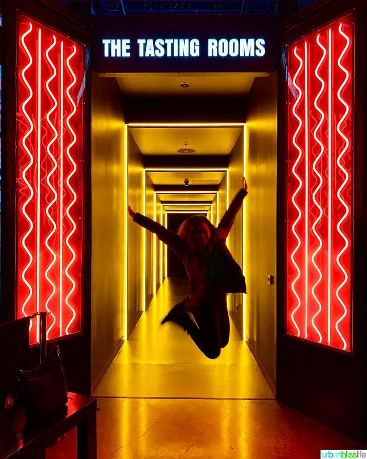 Marlynn Schotland jump at Guinness Storehouse tasting rooms
