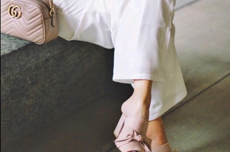 white-jumpsuit-blush-bow-heels
