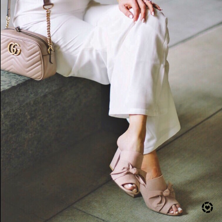 white-jumpsuit-blush-bow-heels