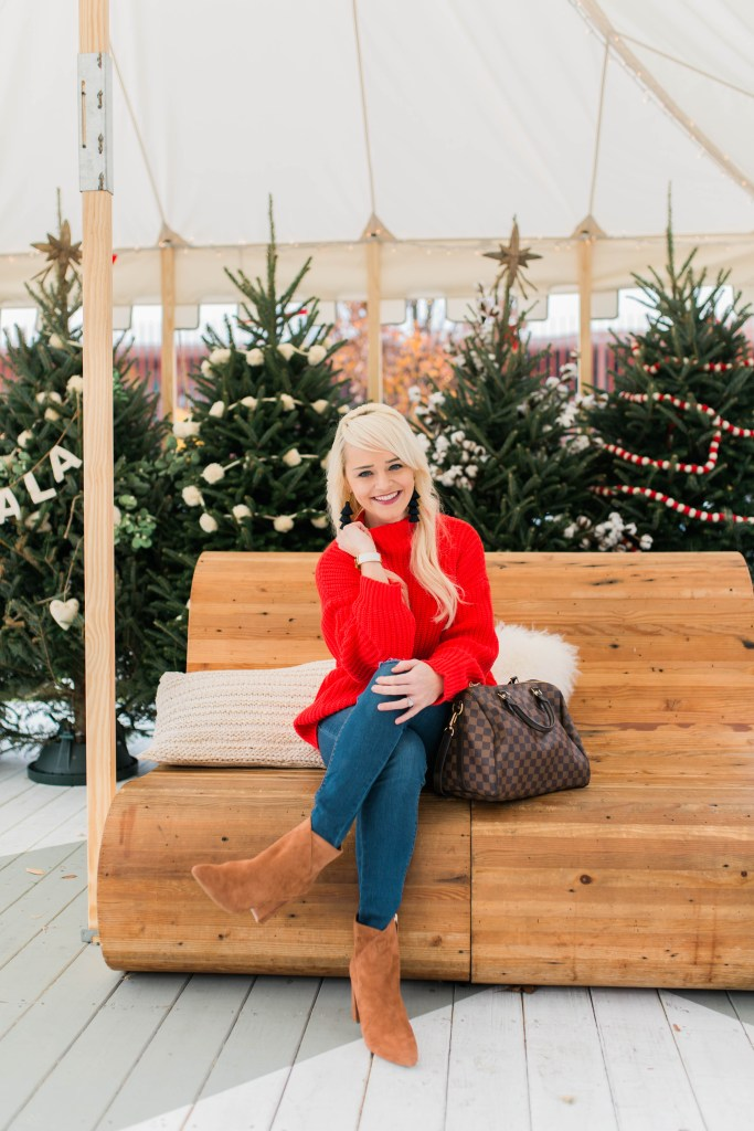 red-sweater-for-the-holidays-christmas-trees-atlanta-blogger
