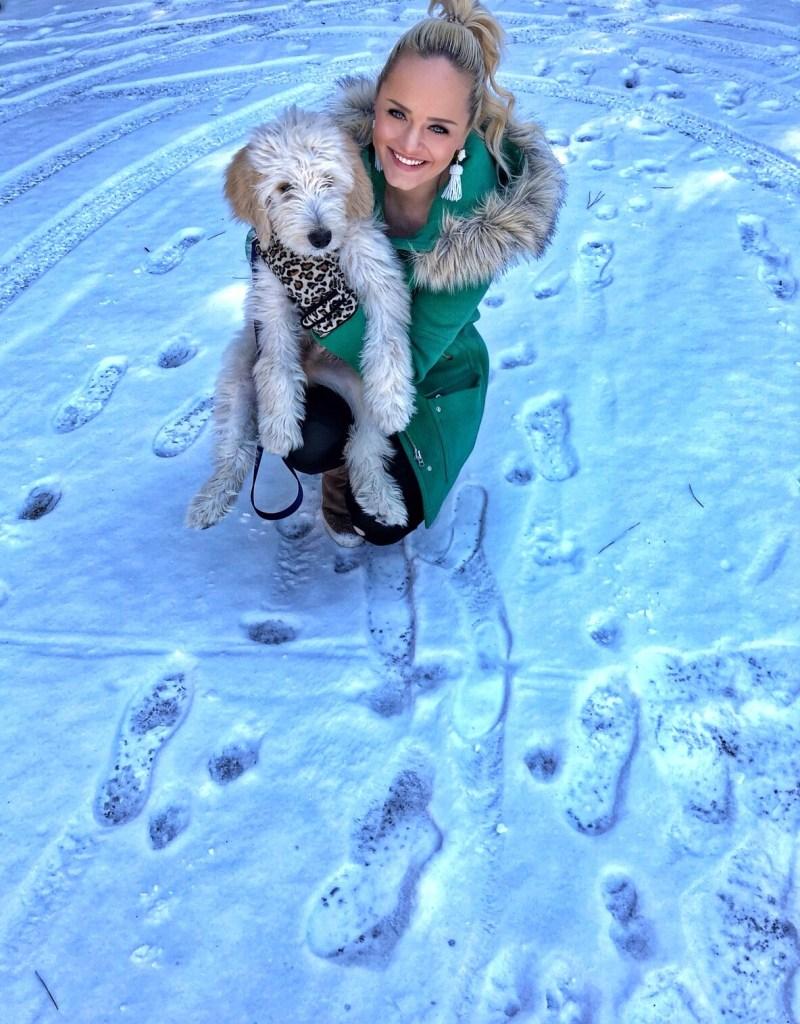 snow-day-winter-fashion-jcrew-coat-golden-doodle-puppy