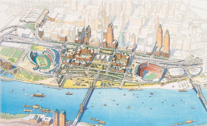 The original Banks plan as envisioned by the Riverfront Steering Committee which was established Qualls.
