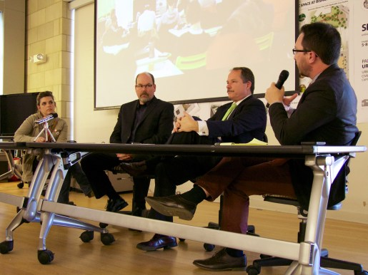 UrbanCincy's John Yung moderated a panel discussion on the future of Burnet Woods.