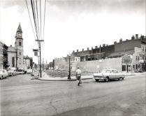 Demolition of buildings for the original widening of Liberty Street in 1955