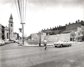 A building at the southeast corner of Liberty and Race is demolished for the widening of Liberty Street in 1955.