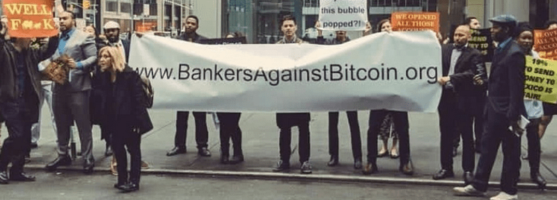 bankers against bitcoin protest