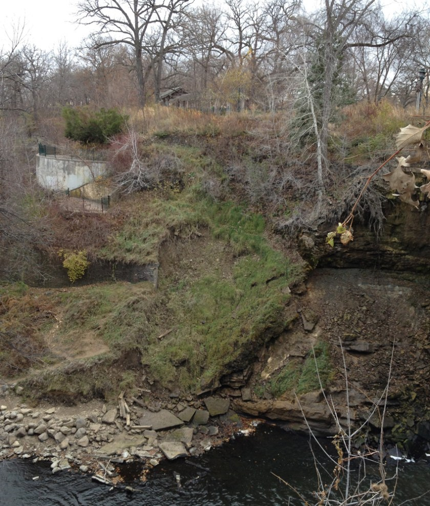 This side of the Minnehaha gorge is geologically unstable.