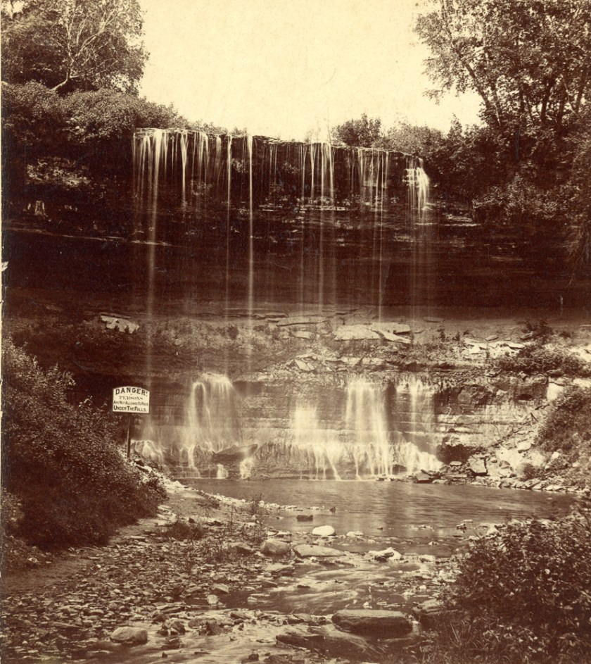 Probably from the dry mid-summer: a trickle of water over Minnehaha Falls.