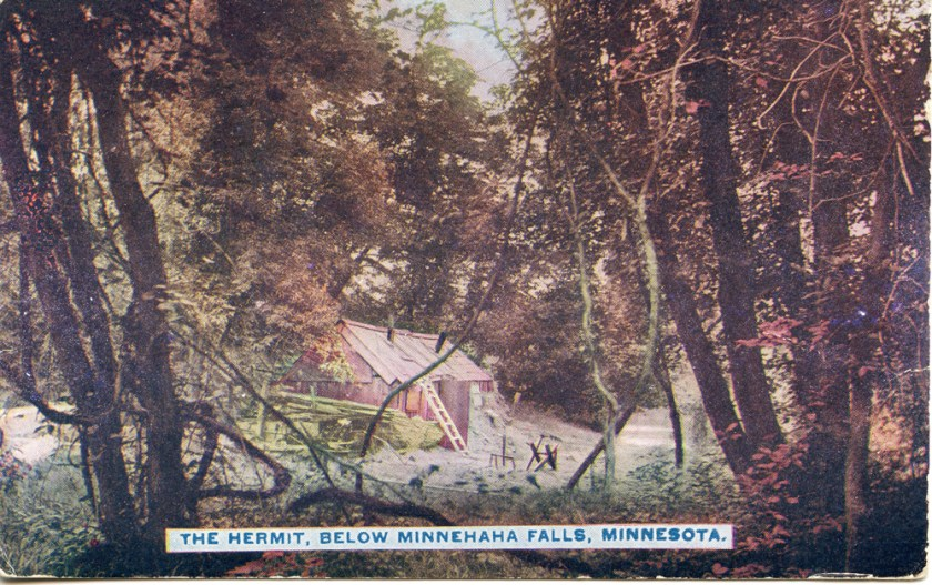 "a color postcard showing a small shack, labeled ""The Hermit Below Minnehaha"""