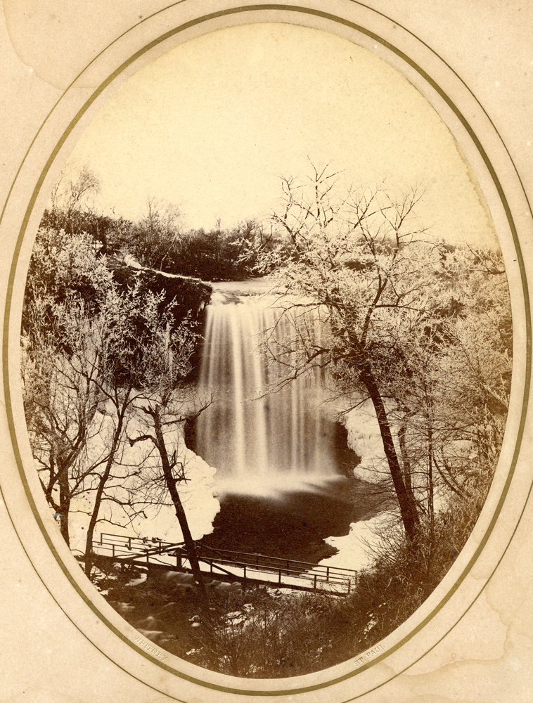 An early pic of Minnehaha, showing the first bridge