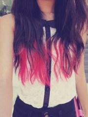 dip dyed hair pink dye