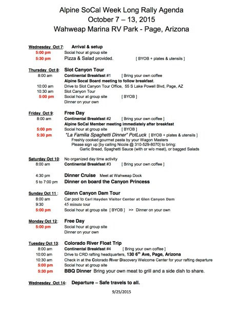 Lake Powell Rally Schedule