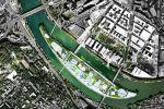 Voici une vue aérienne de l'île Seguin pensée par Jean Nouvel, architecte qui coordonne le projet.